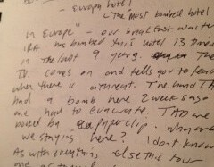 May 1991 Journal Entry from a Buffalo Tom Tour